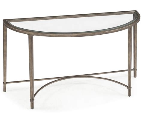 glass top demilune console table with metal legs and