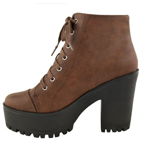 beth brown block heel lace up ankle boots parisia fashion