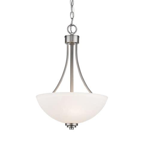 brushed nickel hanging light thomas lighting prestige 3 light brushed nickel pendant
