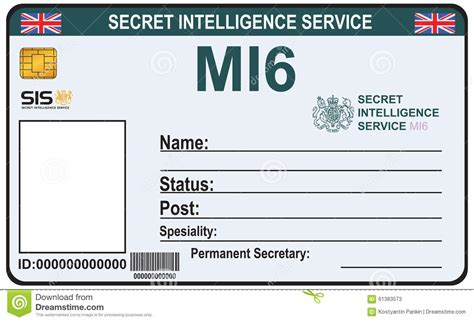 mi6 id card template identity a secret of mi 6 stock vector image 61383573