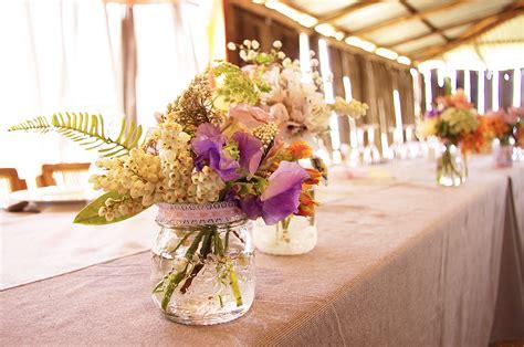 country rustic wedding reception floral centerpieces