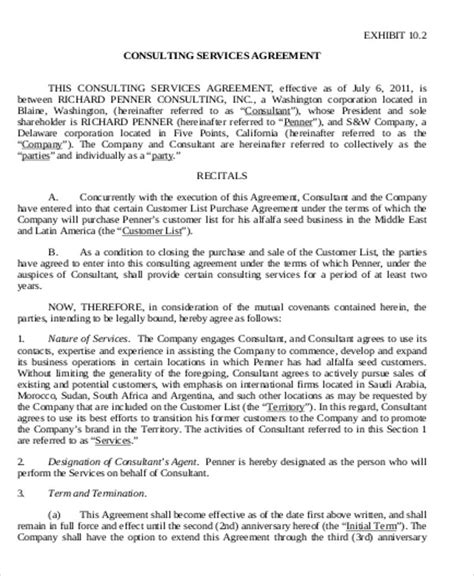 business consultant agreement 9 sle business consultant agreements sle templates