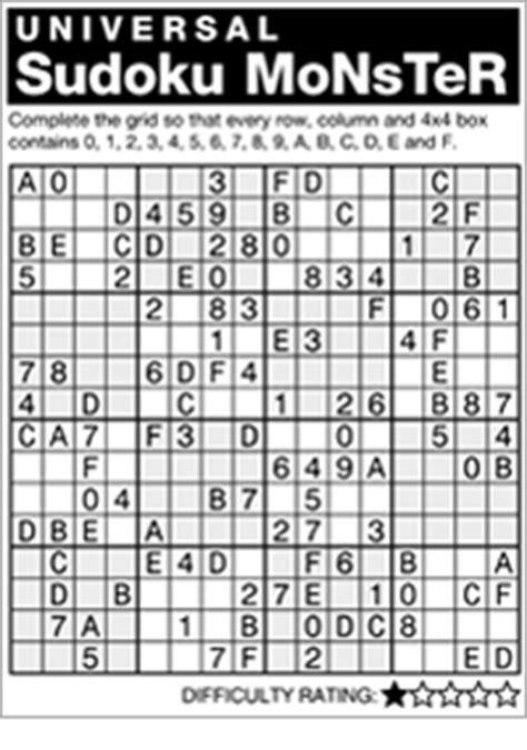 printable monster sudoku 16x16 andrews mcmeel syndication home