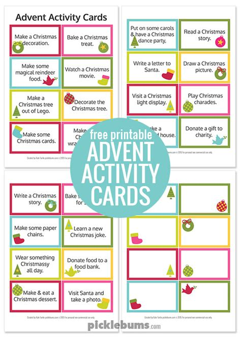 Activity Cards Maker Template by Advent Calendar Printables Picklebums