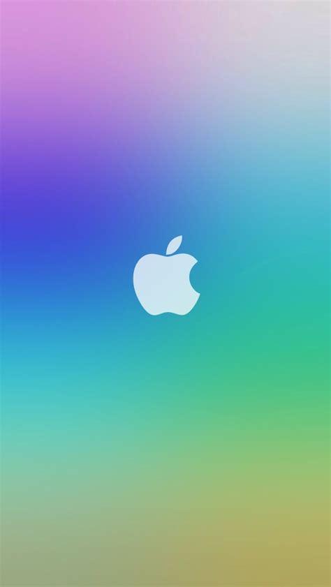 rainbow apple logo ios lockscreen iphone  wallpaper hd