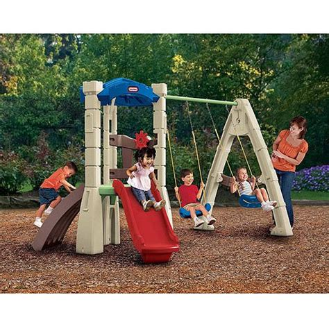 lil tikes swing set little tikes lookout plastic swing set