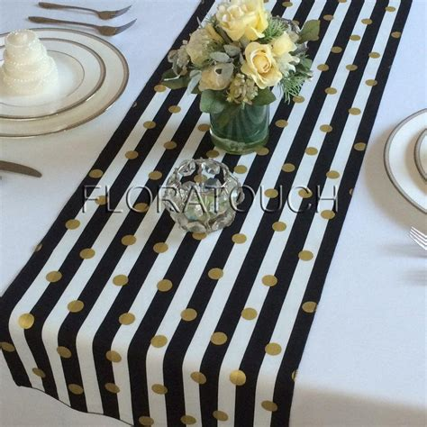and white table runner white and black striped with gold dots table runner