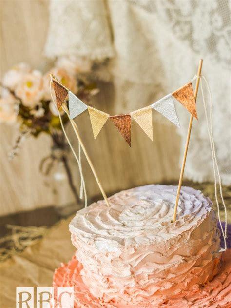 Wedding Banner Cake Topper by Metallic Copper Gold Silver Cake Banner Wedding Cake