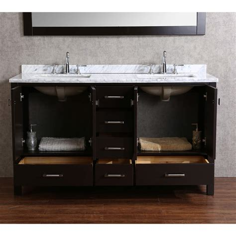 Solid Wood Vanities For Bathrooms Buy Vnicent 60 Quot Solid Wood Bathroom Vanity In Espresso Hm 13001 60 Wmsq Esp