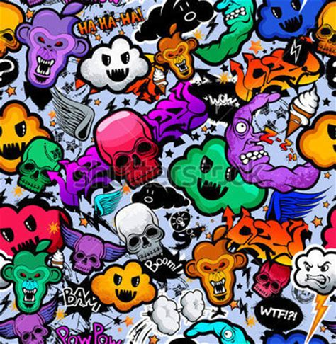 doodle para xo grafiti karikat 252 r tuhaf funky karakterler sorunsuz ucube