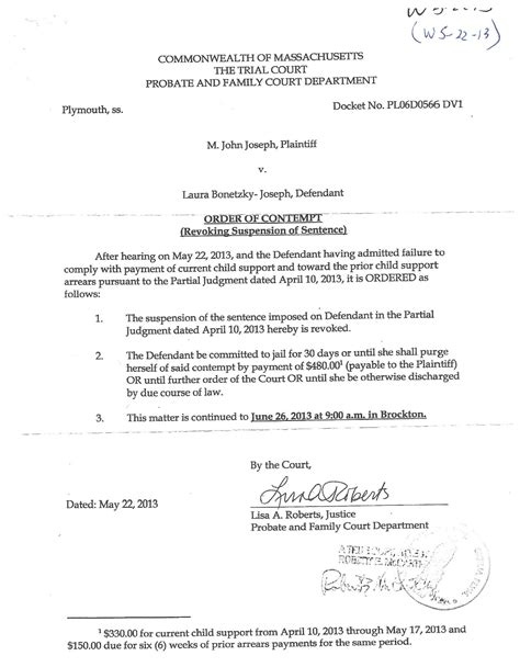 Release Order Letter Template post 2012 trial court actions motions contempts