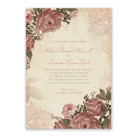 vintage wedding invitations with roses vintage roses invitation with free response postcard s bridal bargains