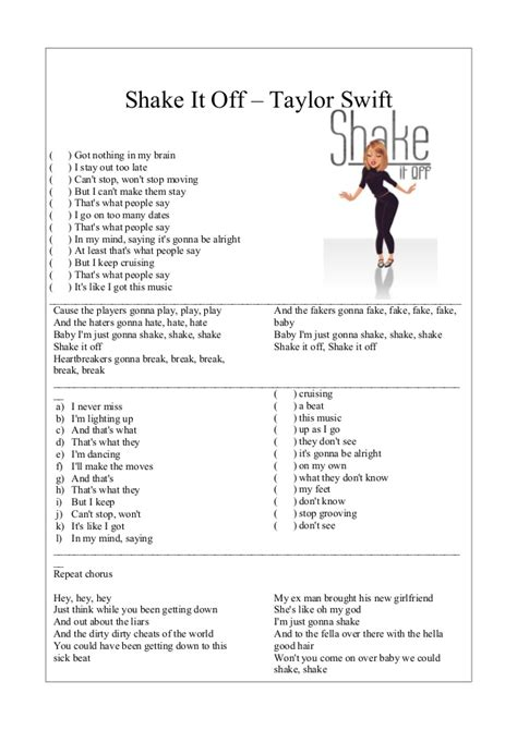 printable lyrics shake it off the gallery for gt taylor swift shake it off lyrics whole