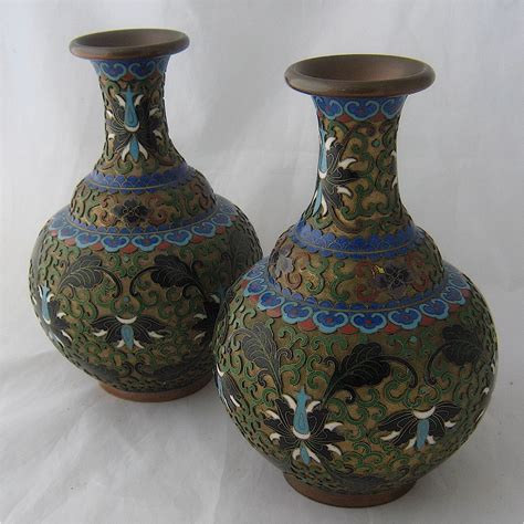Cloissone Vase by Pair Cloisonne Chleve Bronze D Ore Vases From