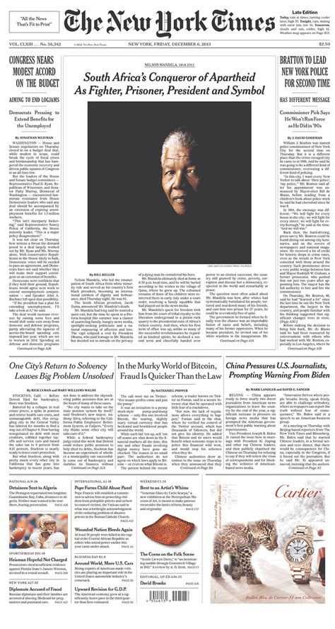 nelson mandela biography new york times ten powerful front page tributes to tata madiba