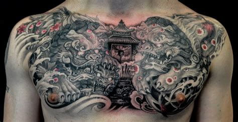 full chest foo dog and temple tattoo chronic ink