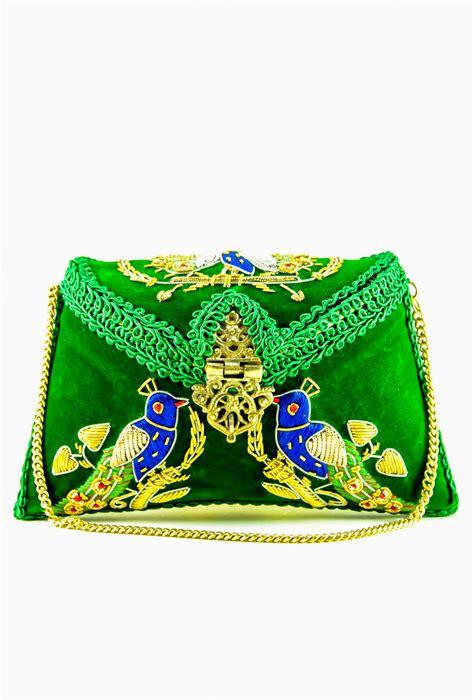 Clutch Royal Green green peacock maharani brass clutch bag