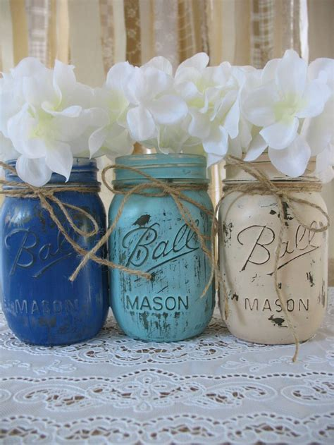 3 Pint Mason Jars, Painted Mason Jars, Rustic Wedding