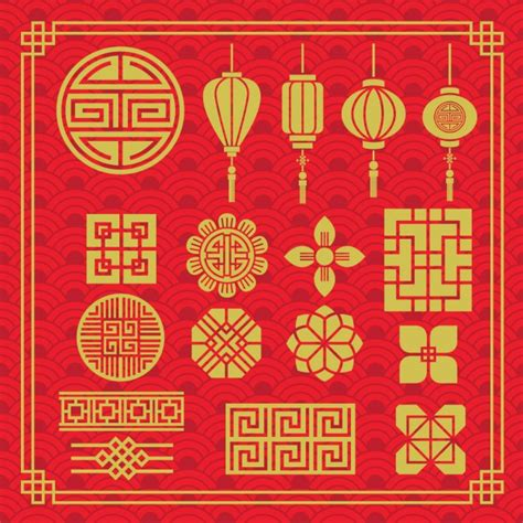 chinese design elements vector free oriental elements collection vector free download