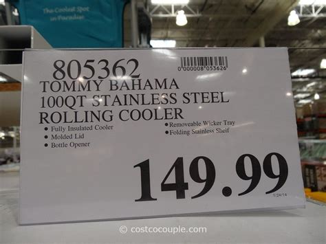 tommy bahama stainless steel cooler on wheels tommy bahama 100 qt stainless steel rolling cooler