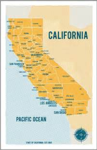 state of california map poster in yellow vintage style