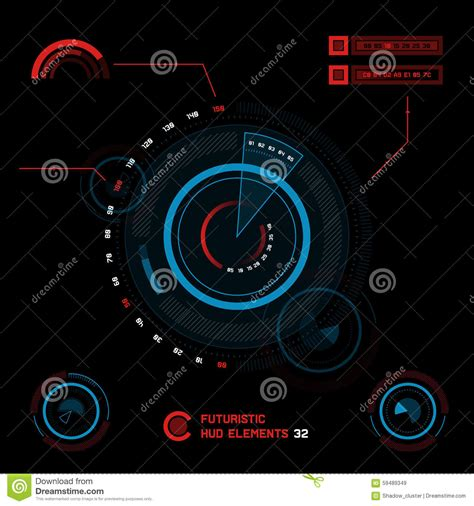 Create Future Reds futuristic touch screen user interface hud stock illustration image 59489349