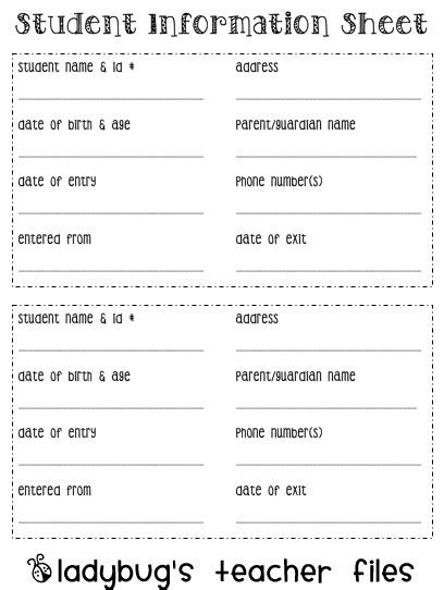 student information sheet printable books worth