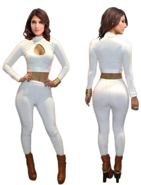 Dress Set Jump white two tight jumpsuit turtleneck