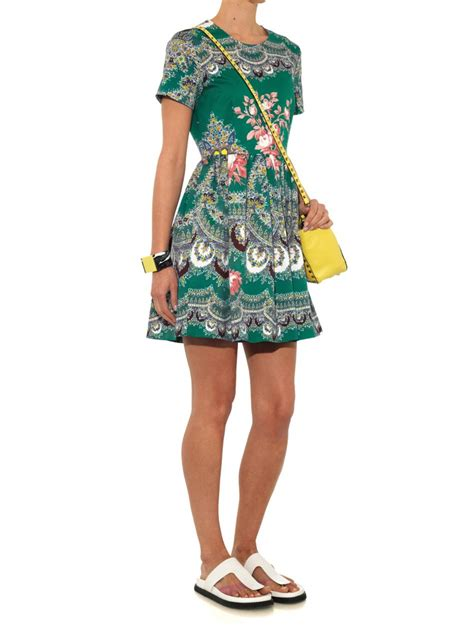Green Tiger Dress 1 lyst msgm floral paisley print sleeved dress in green