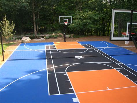Sport Court Cost With Awesome Basketball Outdoor Sport Home Basketball Court Design