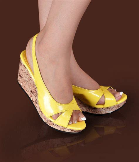 butterfly smart yellow wedge heel sandals price in india