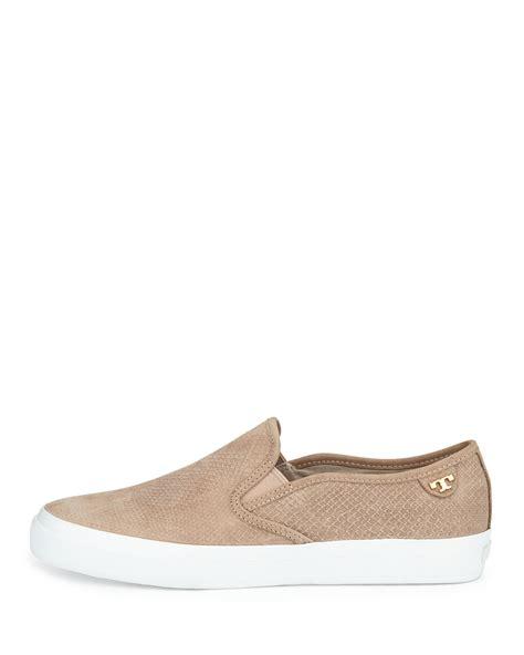 slip on sneaker burch floyd slip on leather sneaker in beige taupe