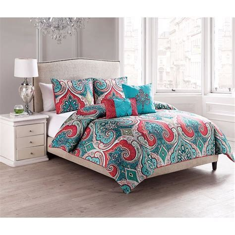 paisley comforter sets full new twin full queen king bed turquoise blue coral paisley
