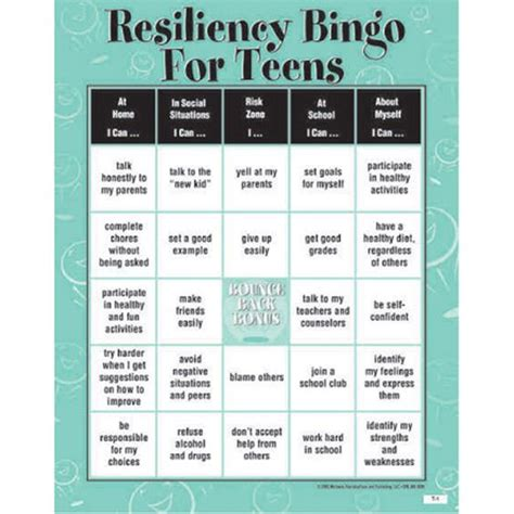 printable resiliency quiz resiliency bingo game for teens classroom activities