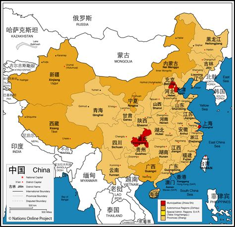 asia map china administrative map of china nations project