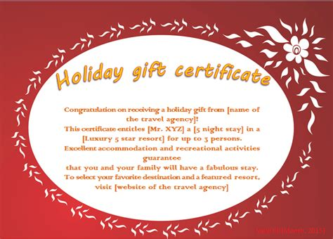 templates for holiday gift certificates flaming flower holiday gift certificate template