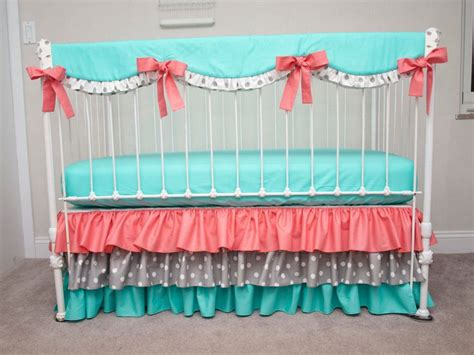 Gray And Coral Crib Bedding Bumperless Aqua Coral And Gray Baby Crib Bedding With Crib Rail Guard Rail Cover
