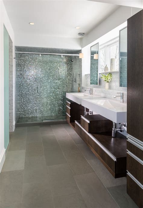 Modern Bathroom Accent Tile Tile Accent Wall Bathroom Contemporary With Marble Floor