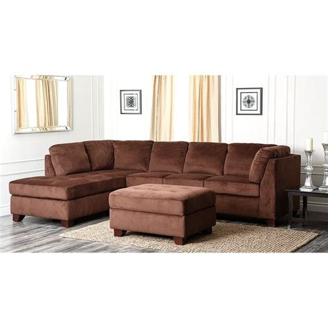 abbyson living sectional sofa abbyson living derlena microsuede sectional sofa in dark
