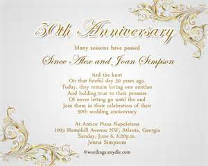 50th wedding anniversary invitation wording wordings and messages