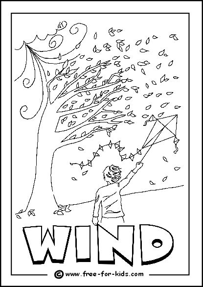 image of windy day colouring page for after outdoor