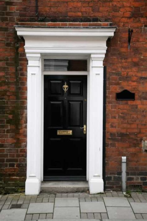 Black Exterior Door Black Exterior Door With White Columns And Entablature Door And Window