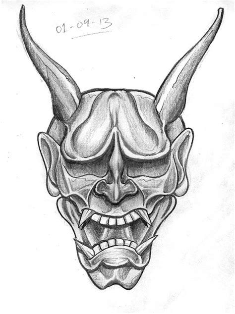 hannya mask tattoo sketch tattoo sketch a day september 2013