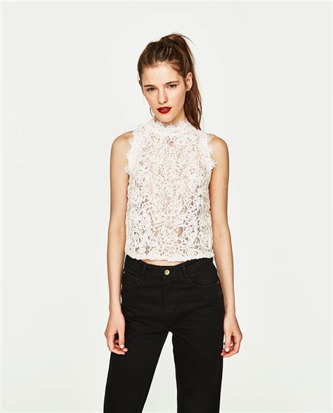 Zara Top lace top tops trf zara united states for