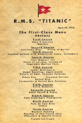 titanic menus from oysters to gruel the last meals on the titanic