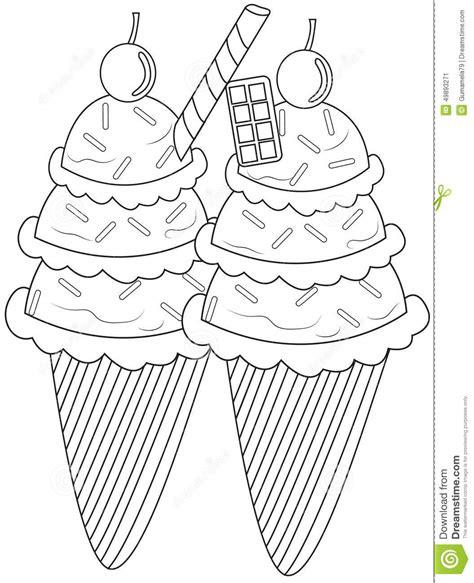 Ice Cream Coloring Page Stock Illustration Illustration