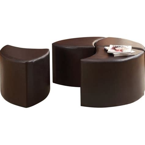 4 piece ottoman trent home strand 4 piece faux leather ottoman with
