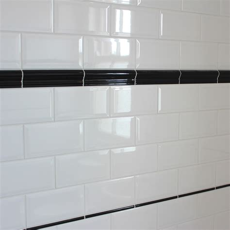 kitchen dado tiles bevelled edge ceramic wall tile gloss white finish in a