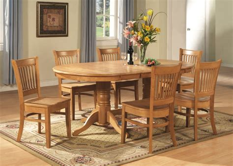 Dining Room Table And Chairs Set 9 Pc Vancouver Oval Dinette Kitchen Dining Room Set Table With 8 Chairs In Oak Ebay