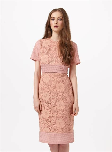 Silver Lace Up From Miss Selfridge by Mixed Lace Pencil Dress From Miss Selfridge 2016 Miss